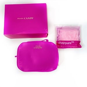 NWT X 3 Prada Candy Large Makeup Bag/Box/Cloth